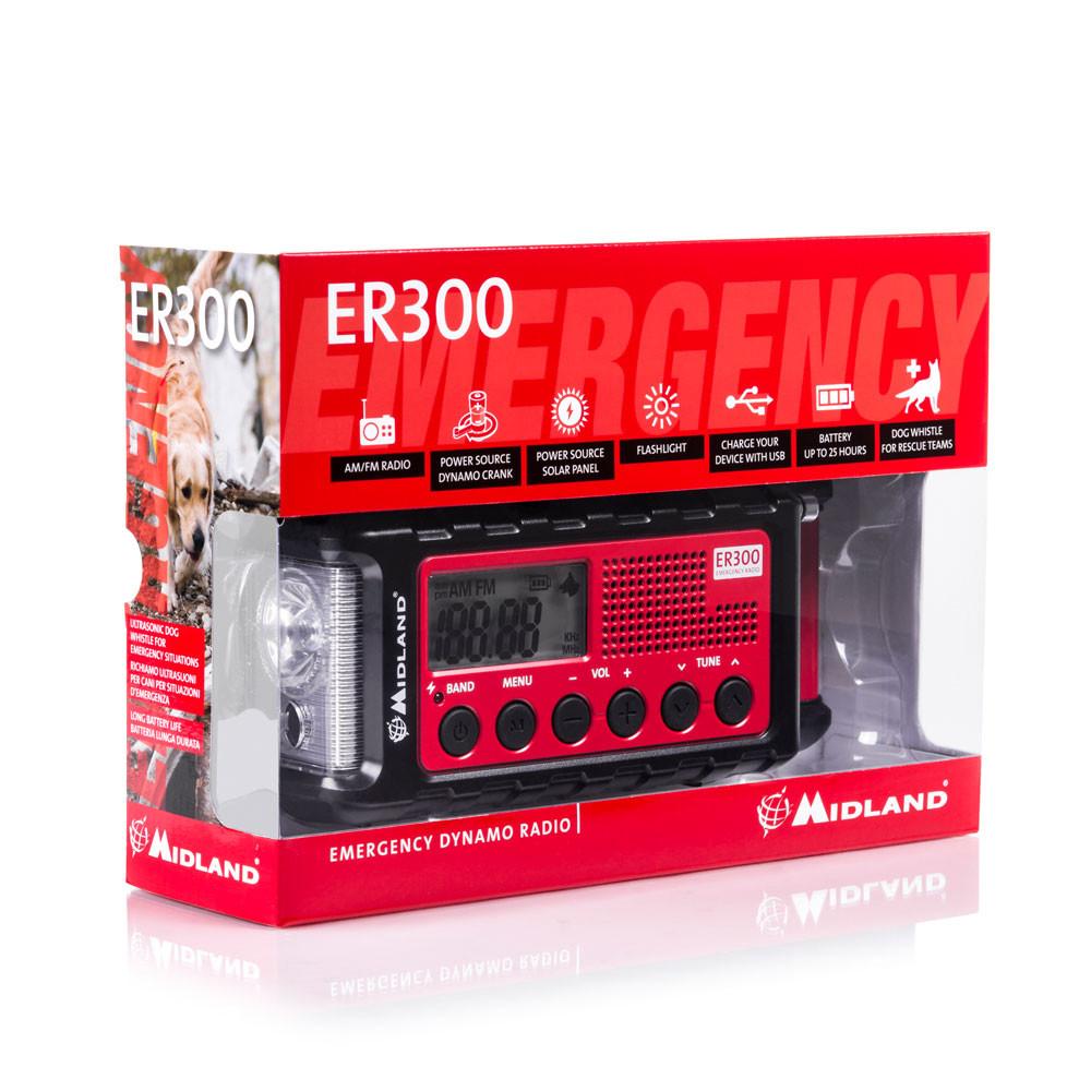 Midland MULTIPLE POWER SOURCE//EMERGENCY RADIO Internal 2000mAh Li-Ion Battery